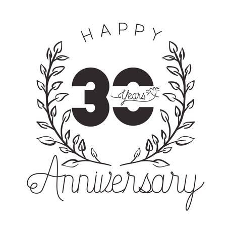 number 30 for anniversary celebration card icon vector illustration desing Çizim
