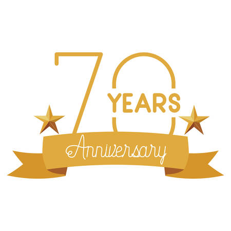 number 70 for anniversary celebration card icon vector illustration desing