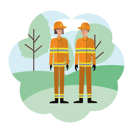couple of firefighters with landscape avatar character vector illustration design