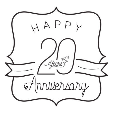 number 20 for anniversary celebration card icon vector illustration design