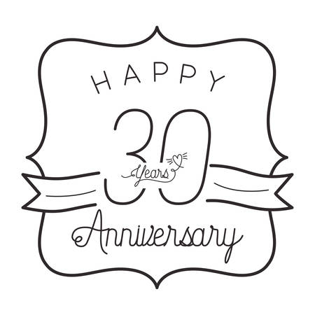 number 30 for anniversary celebration card icon vector illustration design 矢量图像