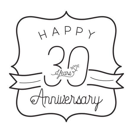 number 30 for anniversary celebration card icon vector illustration design Illustration