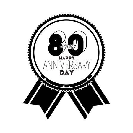 number 80 for anniversary celebration card icon vector illustration design