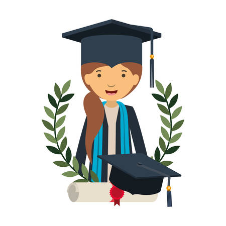 woman graduating with certificate avatar character vector illustration design
