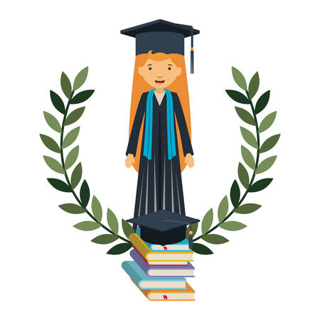 young woman graduating with books avatar character vector illustration design Illustration