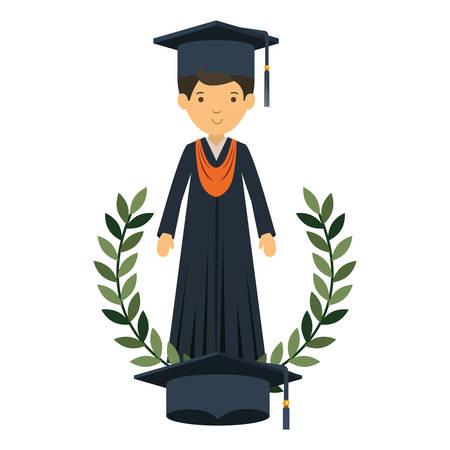 young man graduating avatar character vector illustration desing