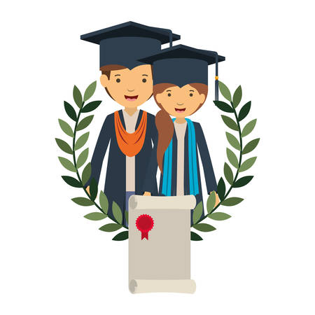 couple of graduates with certificate avatar character vector illustration desing