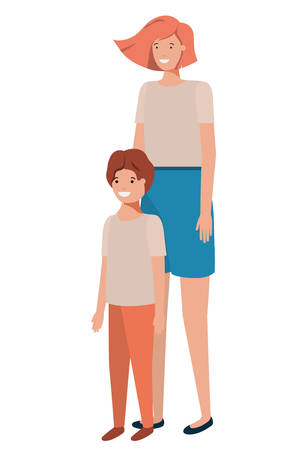 mother and son avatar character vector illustration design