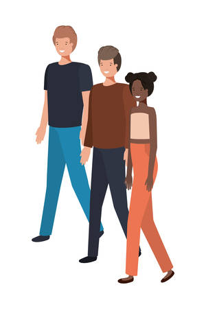 group of people standing avatar character vector illustration design