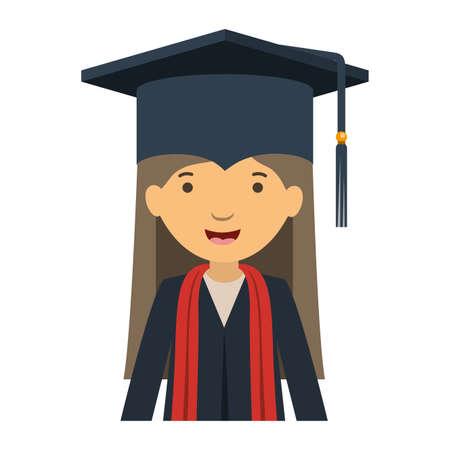 young woman graduating avatar character vector illustration desing