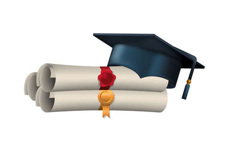 graduation certificate with hat isolated icon vector illustration desing