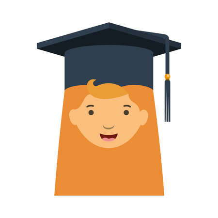 head of woman with mortarboard avatar character vector illustration desing