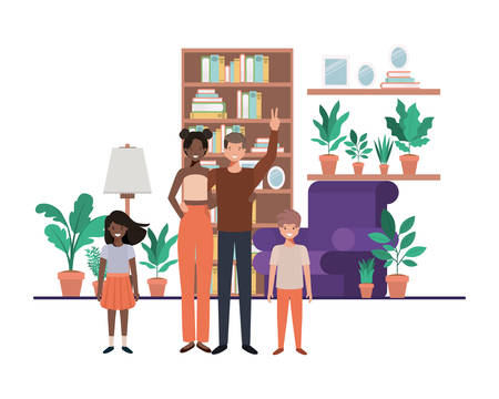 family in living room with library avatar character vector illustration design