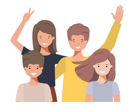 family waving avatar character vector illustration design