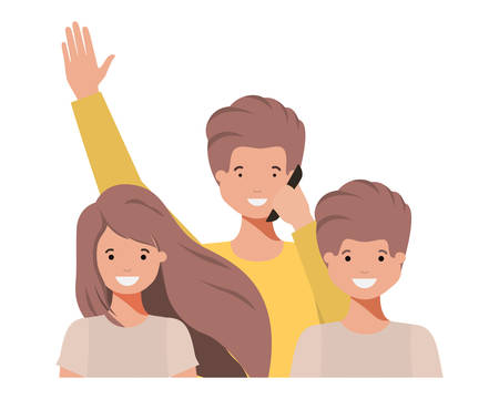 family smiling and waving avatar character vector illustration design
