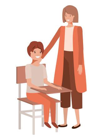 couple with school desk avatar character vector illustration design