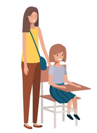 Las mujeres con pupitre escolar avatar ilustración Vectorial character design