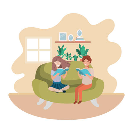 couple of children with book in livingroom avatar character vector illustration design