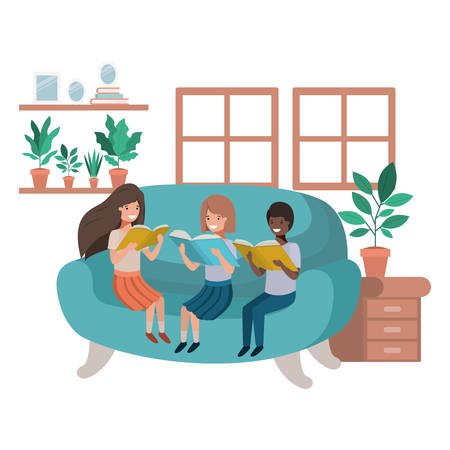 group of people with book in livingroom avatar character vector illustration design