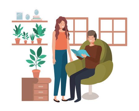 couple with book in livingroom avatar character vector illustration design