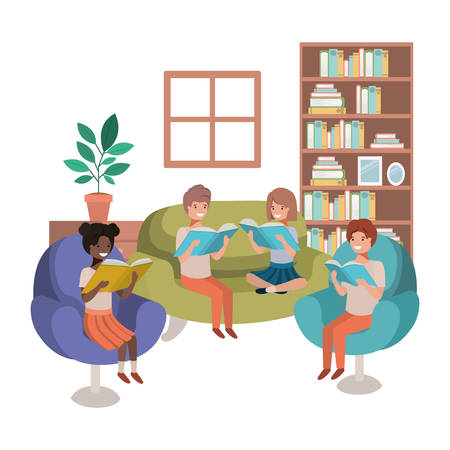 group of people with book in livingroom avatar character vector illustration design Reklamní fotografie - 110132444