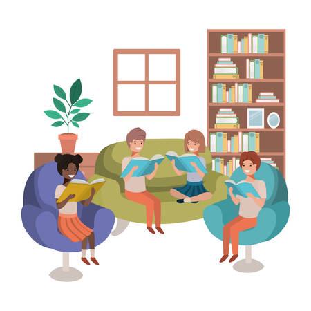Gruppe von Menschen mit Buch im Wohnzimmer-Avatar-Charakter-Vektor-Illustrationsdesign
