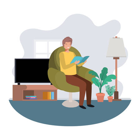 Man with book in livingroom avatar character vector illustration design
