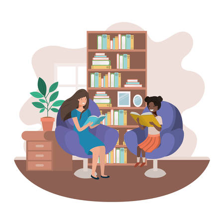 women with book in livingroom avatar character vector illustration design Ilustrace
