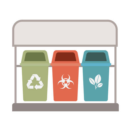 recycling baskets isolated icon vector illustration design