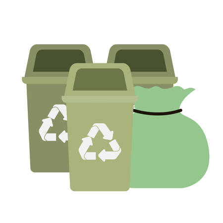 green recycling basket isolated icon vector illustration design