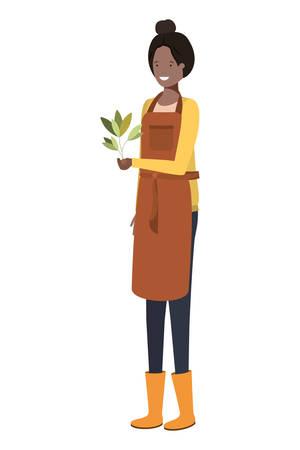 Jeune femme jardinier avec caractère avatar plante vector illustration design Vecteurs