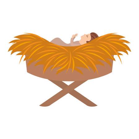 jesus baby in cradle of straw vector illustration design
