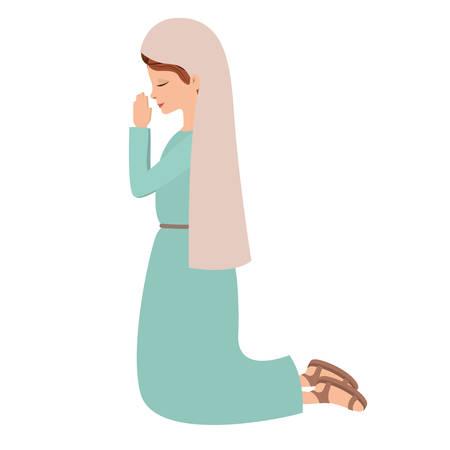 Mignonne Vierge Marie priant caractère vector illustration design