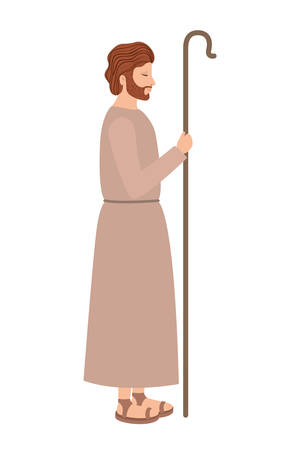 saint joseph with cane character vector illustration design