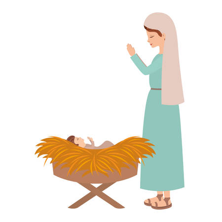 cute mary virgin with jesus baby vector illustration design