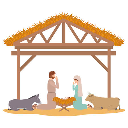 holy family in stable with animals characters vector illustration design