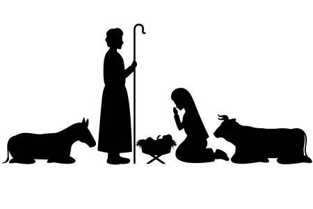 La Sagrada Familia y el pesebre de animales siluetas, diseño de ilustraciones vectoriales