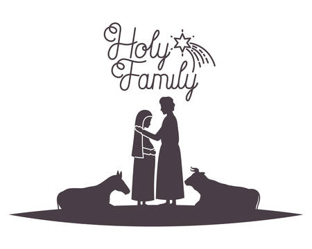 virgin mary and saint joseph with animals silhouettes vector illustration