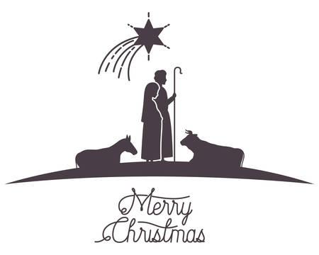 virgin mary and saint joseph with animals silhouettes vector illustration Vecteurs