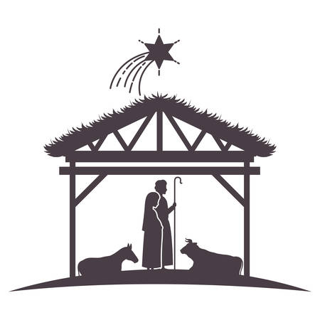 virgin mary and joseph in stable with animals silhouettes vector design