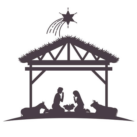 holy family in stable with animals silhouettes vector illustration design Vectores