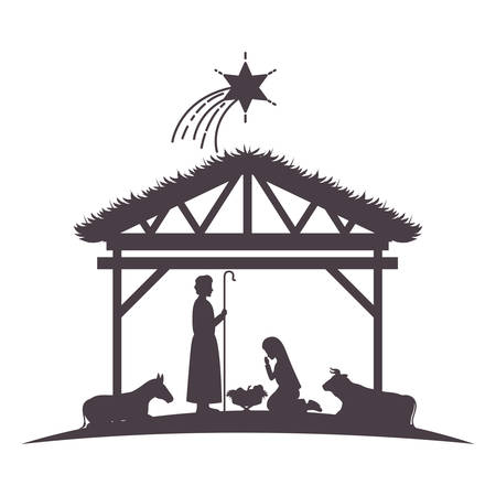 holy family in stable with animals silhouettes vector illustration design