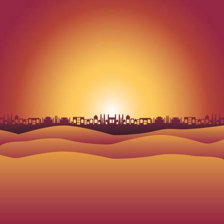 desert with cityscape manger scene background vector illustration Ilustração Vetorial