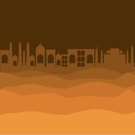 desert with cityscape manger scene background vector illustration