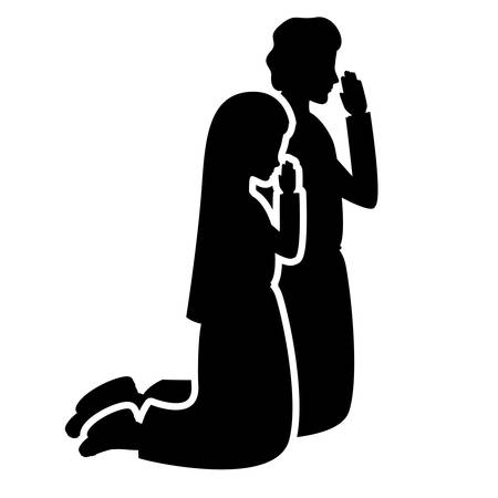 vergine maria e san giuseppe pregando sagome illustrazione vettoriale design