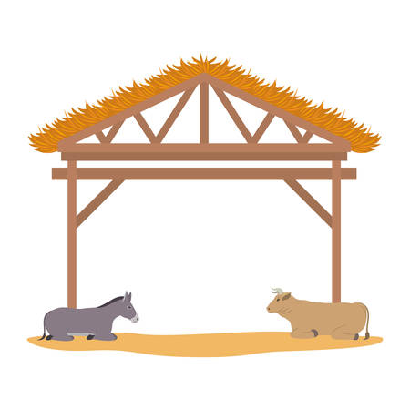 wooden stable manger with ox and mule vector illustration design Illustration