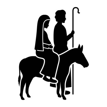 virgin mary in mule and saint joseph silhouettes vector illustration