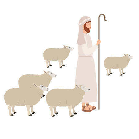 Shepherd with sheeps manger character vector illustration design Ilustração