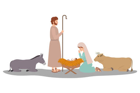 holy family and animals manger characters vector illustration design Ilustrace