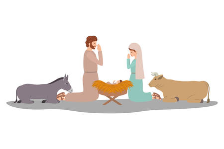 holy family and animals manger characters vector illustration design Vectores